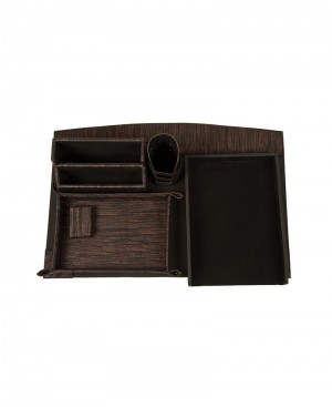 Eco Friendly Eco-leatherette Handcrafted 6 Piece Office Desktop Stationary Set.