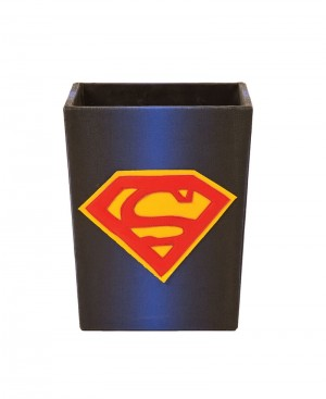 Hand Crafted Superman Design Wooden Dustbin