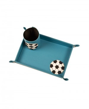Multi Purpose Art Leather Tray & Tooth Brush Holder with Football Patch